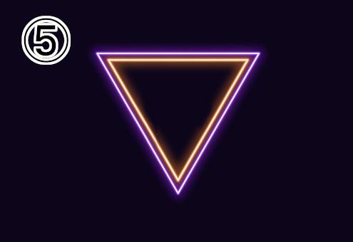 ネオン風の紫、オレンジの逆三角形