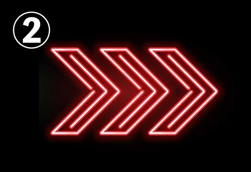 ダッシュボード風の赤い三角のネオン矢印3つ