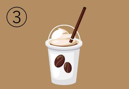 白地にコーヒー豆が描かれたのカフェドリンクカップ