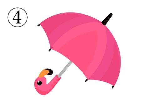 ピンクの、絵がフラミンゴになった傘