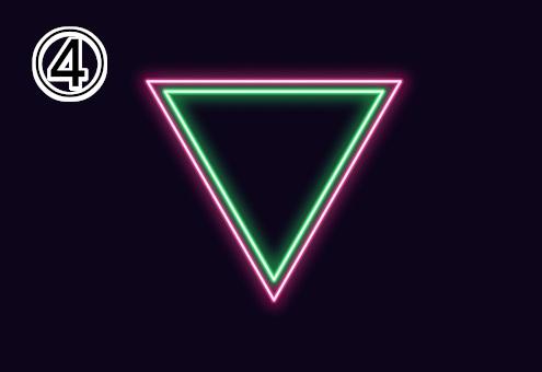 ネオン風の緑、ピンクの逆三角形
