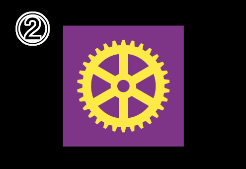 紫背景に、黄色の太めな歯車