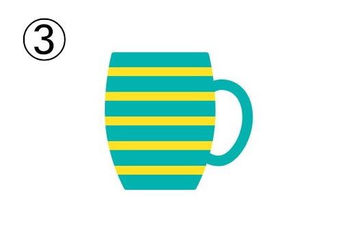 黄色ボーダーの、エメラルドカラーの少し丸みのある背の高いマグカップ