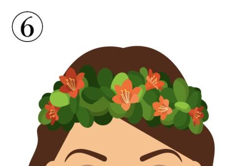 小さめなオレンジの花の花冠