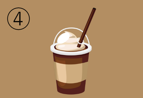 茶色地にキャメル色のラインが入ったカフェドリンクカップ