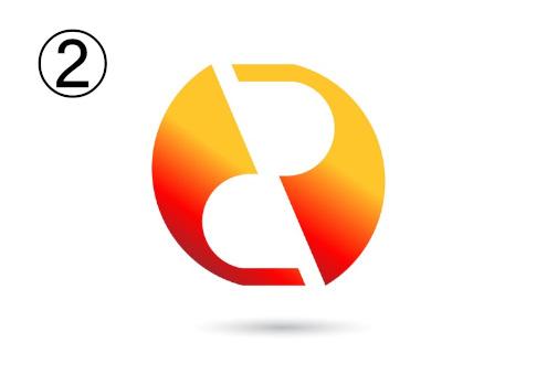斜めにカットされた赤とオレンジのグラデーションシンボル