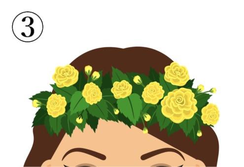 黄色いバラのような花の花冠