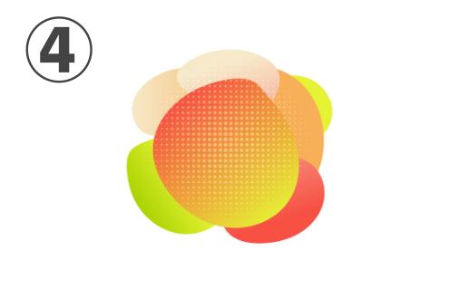 赤、オレンジ、黄色、黄緑のアメーバのような図