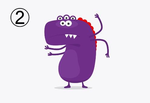 恐竜の頭ような形をした、目5つ、手4本、足2本の牙のある紫のモンスター