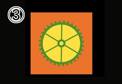 オレンジ背景、隙間が黄色の細めの緑の歯車