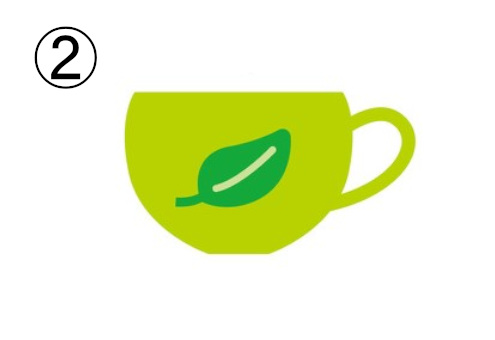 緑の葉っぱが描かれた、黄緑の浅めのマグカップ