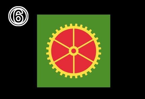 緑背景、隙間が赤の細めの黄色い歯車