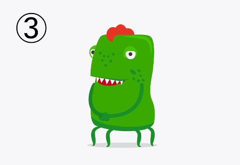 モヒカンのような赤い髪をした、手2本、足4本の落ち着きのある緑のモンスター