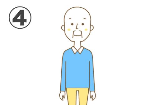 スキンヘッド、水色のトップス、黄色いパンツのおじ様