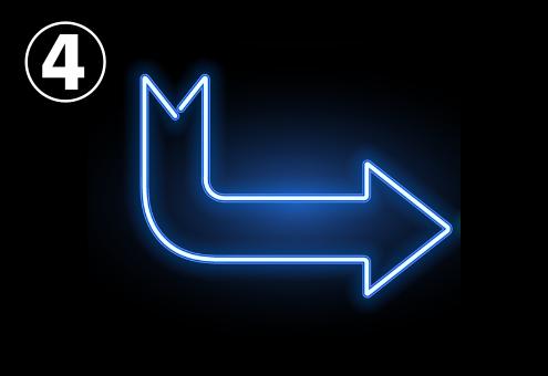 90°に曲がった青いネオン矢印