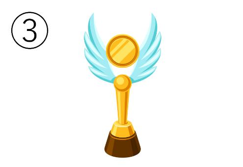 丸と羽のデザインのトロフィー