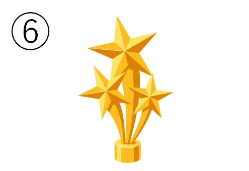 3つの星がついたトロフィー