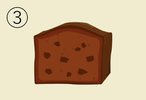 チョコチップ入りのチョコパウンドケーキ
