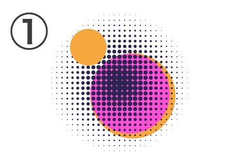 オレンジ丸2つ、ピンク丸、黒の点でできた丸の重なったフレア
