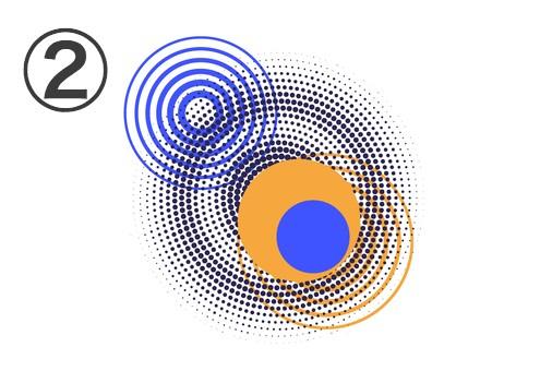 青丸、オレンジ丸と、青、黒、オレンジの数重線でできた丸の重なったフレア