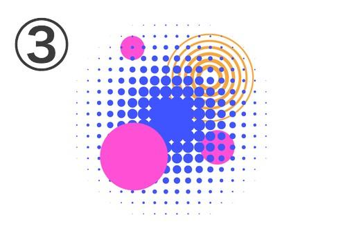 ピンク丸3つ、オレンジの数重線の丸、青の点でできた丸の重なったフレア