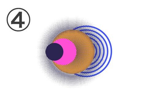 黒丸、ピンク丸、オレンジ丸、青の数重戦の丸の重なったフレア