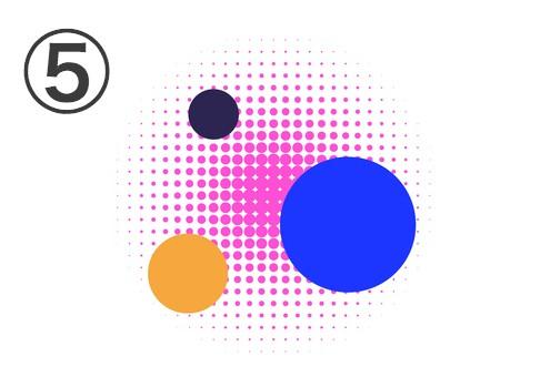 黒丸、オレンジ丸、青丸、点でできたピンク丸の重なったフレア