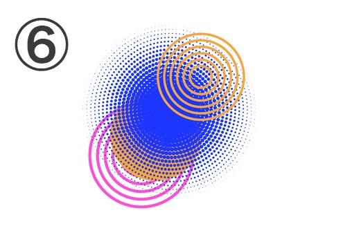 ピンク、オレンジの線の重なった丸と、青い外側がぼやけた丸の重なったフレア