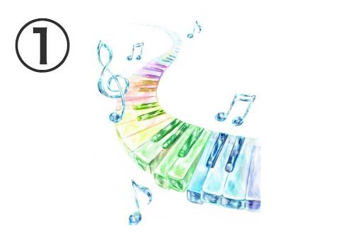 水色の音符、柔らかいのグラデーションの鍵盤