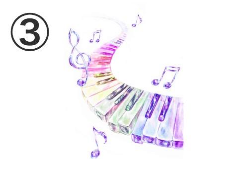 紫の音符、グレイッシュ系ののグラデーションの鍵盤