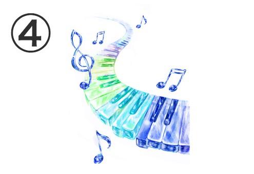 青い音符、寒色系ののグラデーションの鍵盤
