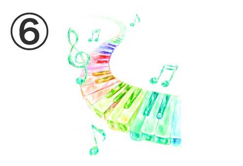 緑の音符、ビビットカラーのグラデーションの鍵盤
