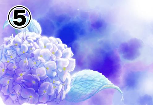 全体が紫のイメージで、柔らかいタッチの、日が差したような紫陽花の絵