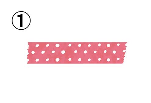 白いドット柄の、濃いピンクのマスキングテープ