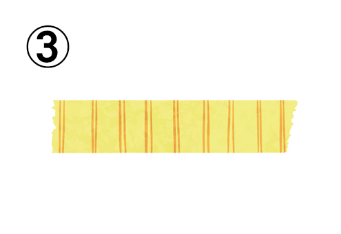 オレンジの細い縦線がある、黄色のマスキングテープ