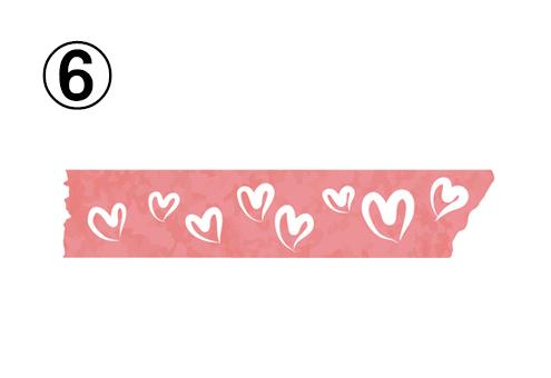 白いハートが散りばめられた、ピンクのマスキングテープ