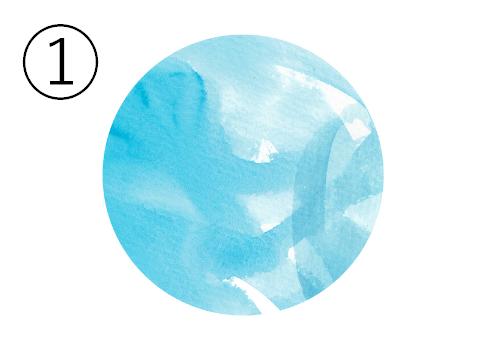 ランダムな塗り跡のある水色丸