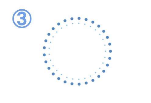 青と水色の細い丸と点でできたフレーム