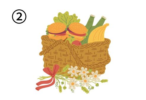 ハンバーガー、果物、ボトルが入ったバスケットと、花束