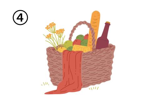 斜め視点の、花、パン、ボトル、フルーツが入ったバスケット