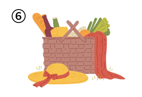 野菜、ボトル、赤い布が入ったバスケットと麦わら帽子