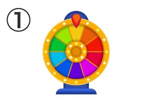 虹色のマトの、縁が黄色とネイビーのルーレット