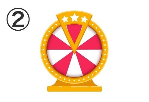赤と白が交互になったマトに、星の装飾のある黄色の枠のルーレット