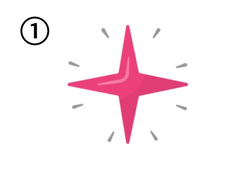とんがりが4つの、ピンクの星