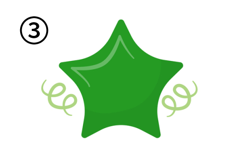 凹部分が弧を描いている緑の星
