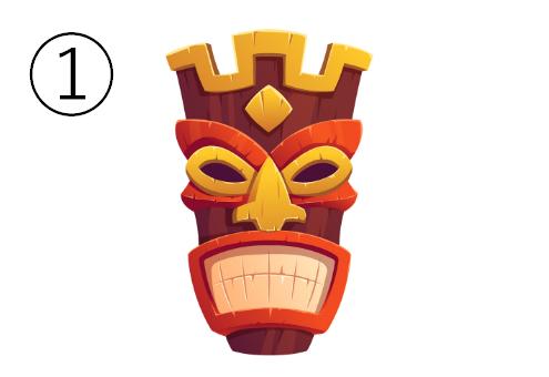 起こったような顔の、頭が王冠のようになったマスク
