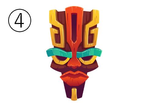 睨んだような顔の、頭の大きいマスク
