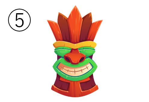 にっこり笑った顔の、暖色多めなマスク