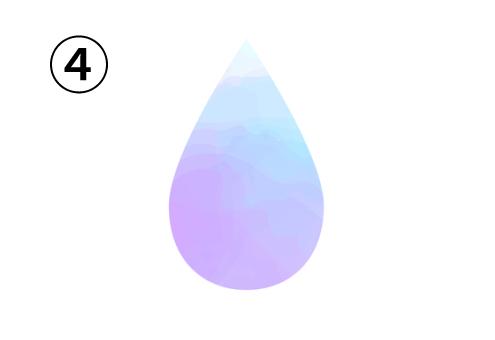 白、水色、青、紫のグラデーションの雫