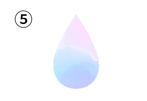 ピンク、白、水色、紫のグラデーションの雫